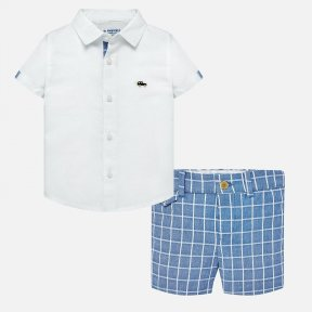 Mayoral shorts and shirt set, white and bue, SS19 1252