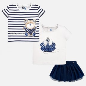Mayoral white and navy blue t-shirts and skirt set. SS19 1951