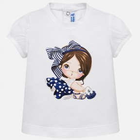 Mayoral white t-shirt with nave girl motif SS19 1008
