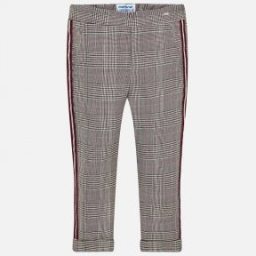 Mayoral girls trousers prince of wales check beige gold brown burgundy 4504