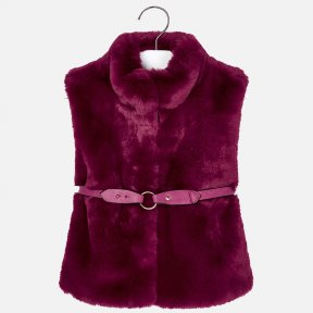Mayoral burgundy dark red faux fur gilet belted girls 4307