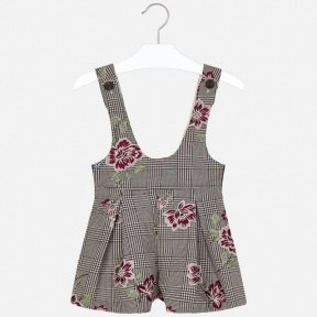 Mayoral check beige gold & burgundy dungaree romper playsuit 4601