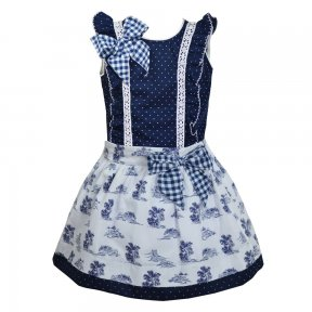Pretty originals navy and white 2 piece skirt and blouse set.