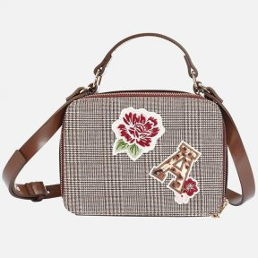Mayoral beige burgundy prince of wales check girls hand-bag. 10719