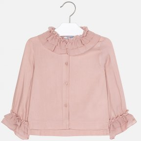 Mayoral girls pink chiffon collar button-up blouse 4101