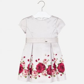 Mayoral girls red rose-print satin nude dress 4922