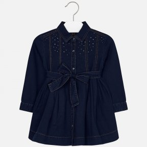 Mayoral denim dress girls navy cotton rhinestones 4933