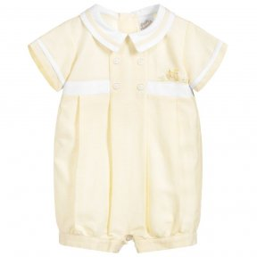 Pretty Originals lemon and white boys romper suit.