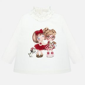 Mayoral baby girls long-sleeved ivory ruffle-neck top with girl motif 2006