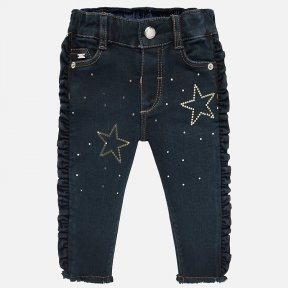 Mayoral dark denim ruffle star baby girl jeans 2529