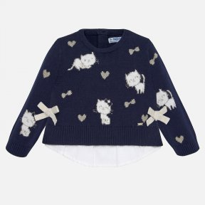 Mayoral navy cat baby girls jumper 2313