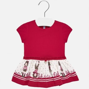 Mayoral red baby girl dress doll print 2921