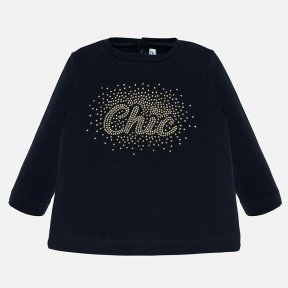 Mayoral navy long sleeved baby girls top chic logo 116 N