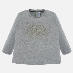 Mayoral baby girls grey long sleeved top chic logo 116 G