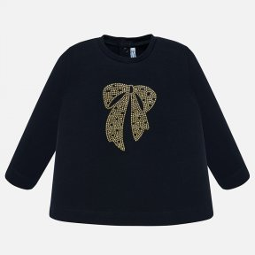 Mayoral navy baby girls long sleeved bow top 2016