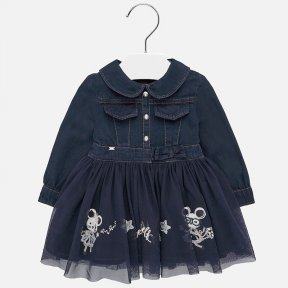 Mayoral Navy denim and tulle baby girls dress 2925