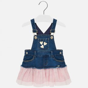 Mayoral pink tulle and denim dungaree dress 2905