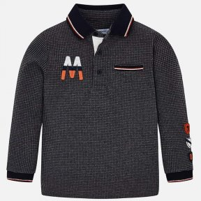 Mayoral boys grey and navy checked long sleeved top 4109