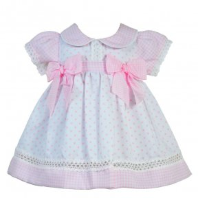 Pretty Originals pale pink and white candy strip and polka-dot 2 piece short sleeved dress and jam-pants set.