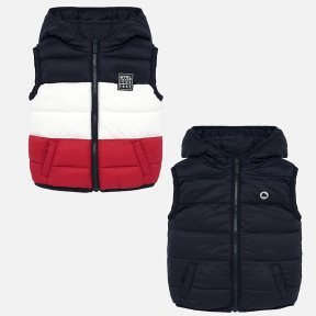 Mayoral red navy white reverseable boys gilet 2328