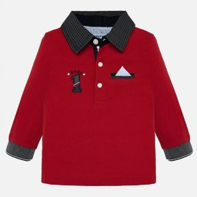 Mayoral red boys long-sleeved polo shirt 2109