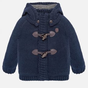 Mayoral boys navy chunky knit hooded cardigan 2329