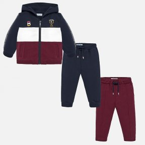 Mayoral 3 piece tracksuit hoody and joggers navy white and burgundy 2842