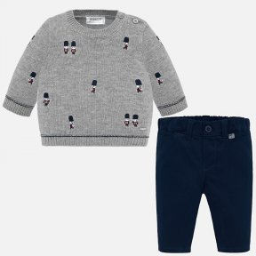 Mayoral baby boys 2 piece set navy and grey jumper and trousers soldier 2524 N