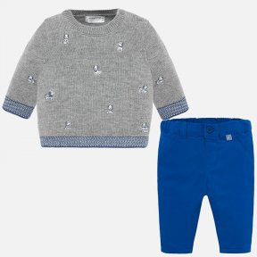 Mayoral baby boys royal blue and grey jumper and trouser 2524
