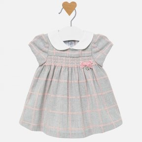 Mayoral baby girls grey and pink checked dress 2826
