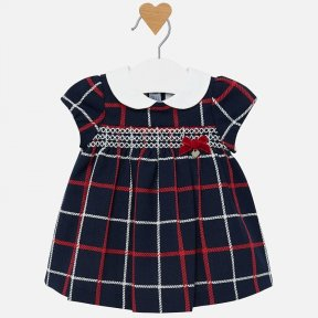 Mayoral baby girls navy and red checked dress 2826 N