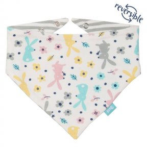 Kite Organic Cotton Happy Hare patterned bib, pink, blue, grey, yellow. BU0225