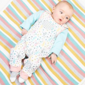 Kite Organic Cotton Happy Hare Dungarees, Cream, Pink, Grey, Yellow, Blue BU0280