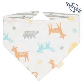 Kite Organic Cotton Woodland Bib. Cream, Brown, Grey, Yellow, Blue, Animal Print BU0239