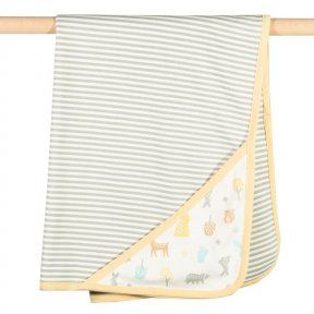 Kite Organic Cotton Woodland Blanket. Mustard, Yellow, Cream, Grey, Brown, Blue, Animal Print