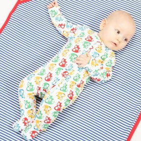 Kite Clothing 100% Organic Cotton Rainbow Sleepsuit. Red, Green, Blue, Yellow, Zip fastening BU0269