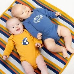 Kite 100% Organic Cotton 2 Pack Foxy Bodysuits, Blue, Mustard Yellow. BU0285