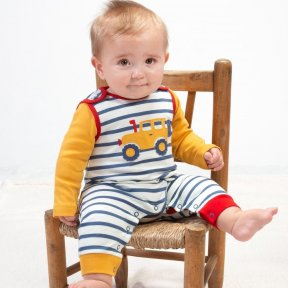 Kite Organic Off Road Dungarees, Blue Striped, Red, Yellow, Footless BU0289