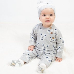 Kite 100% Organic Cotton Romper, Footless,  Grey, Bear Print  BU0251