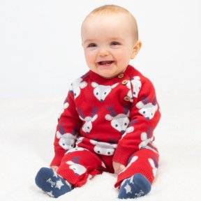 Kite 100% Organic Cotton Knitted  Reindeer Romper, Footless, Red, Grey, Blue, Animal Print  BU0318