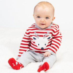 Kite 100% Organic Cotton Knitted  Reindeer 2 Piece Set, Red, white Striped Jumper, Animal Print, Grey Bottoms BU0320