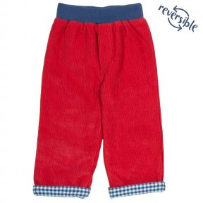 Kite 100% Organic Cotton Reversible Trousers, Red, Blue Checked, Cord, Elasticated Waistband TB0430