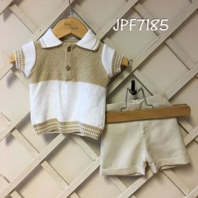 Pretty Originals white and camel 2 piece 100% cotton shorts set.
