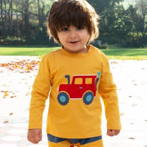 Kite 100% Organic Cotton Long sleeved T-Shirt, Mustard Yellow, Front Vehicle Design  TB0414