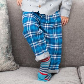 Kite 100% Organic Cotton Reversible Trousers, Blue, White Checked, Grey, White Cat Print TB0450