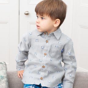 Kite 100% Organic Cotton Cool Cats Grey Shirt, White, Blue Cat Print TB0444