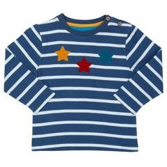 Kite 100% Organic Cotton Blue, White Stripe Long Sleeved T-Shirt, Star Detail TB0443