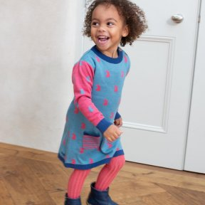 Kite 100% Organic Cotton Knit Blue, Pink Dress, Hare Detail TG0370