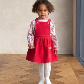 Kite 100% Organic Cotton Red Cord Pinafore Dress, Pocket Detail TG0393