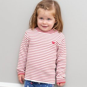 Kite 100 % Organic Cotton Knit Red, White, Stripe Jumper, Pink Heart Detail TG0382